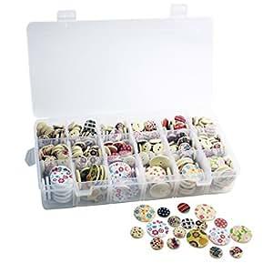 550 boutons en bois rond à motifs avec 2 trous pour création couture dans une boite par Curtzy TM