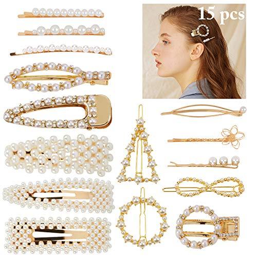 FunPa 15 Stücke Perle Haarspangen Damen Künstliche Perle Haarnadeln Frauen Haarklammer Perle Haarschmuck Perle Haar Pins Haarspangen Geschenk für Muttertag...