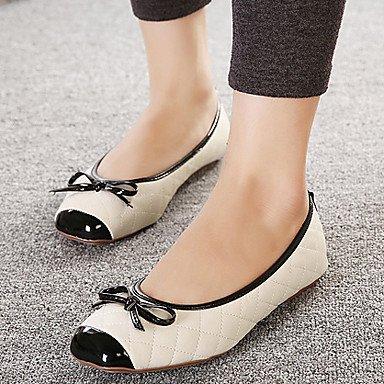 Confortevole ed elegante piatto scarpe donna appartamenti rientrano Ballerina PU Casual tacco piatto Bowknot Nero Rosso mandorla altri almond