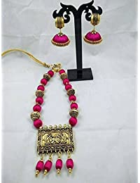 Traditional Silk Thread Antique Gold Pendant Necklace With Matching Jhumka In Pink Colour.