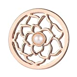 Morella Damen Coin Rosegold Blumenornament mit Perle 33 mm