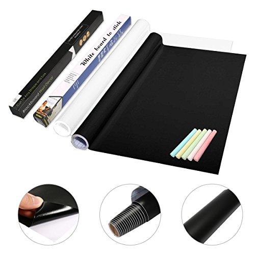 ARTISTORE 2 Pcs Tableau Autocollant Noir/Blanc, Stickers Muraux pour Tableau Noir Confortable, Pratique, avec 5 Craies