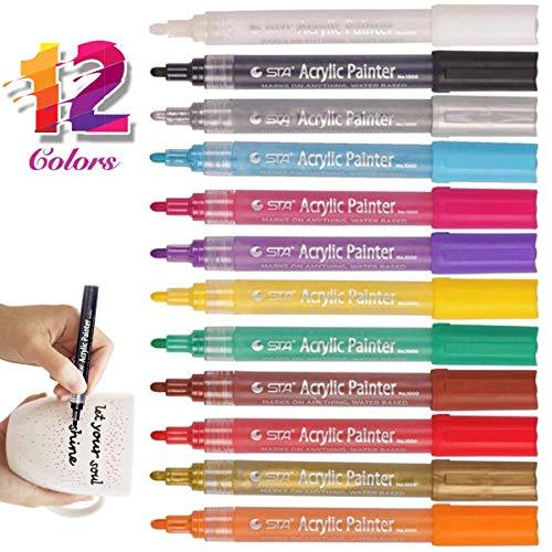 Deco-marker (Herefun Acrylstifte Marker Stifte, 12 Farben Acrylic Painter Deco Pen Permanent Marker Set wasserfest Art Filzstift für Keramik, Stoff, Glas, Stein, Holz, Metall, DIY-Handwerk)