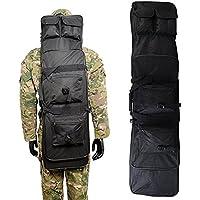 AV suministro 48Inch táctico impermeable doble Rifle estuche mochila Militar Doble Pistola bolsa con correa para el hombro acolchada y bolsillos, Negro