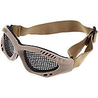 Zhuhaimei,Anteojos con protección Ocular Malla metálica Anti Impacto para Juegos CS al Aire Libre(Color:Suelo)