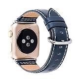 Amoyl für Apple Armbanduhr Lederband2 Hermes,  42mm/38mm Lederband für iWatch Zubehör Band (braun/schwarz/grün/khaki/blau), navy, 38 mm