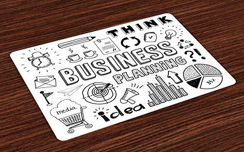 Abakuhaus Gekritzel Platzmatten, Unternehmensplanung Thema Doodle Icons Set Brainstorming Präsentation und Fortschritt, Tiscjdeco aus Farbfesten Stoff für das Esszimmer und Küch, Weiß Schwarz