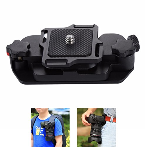 Joint Victory Digital SLR Camera Belt Clip Aluminum Alloy Strap Buckle Quick Release Clip Plate with 1/4 Tripod Screws (for DLSR) Digitale Slr Pro Kamera