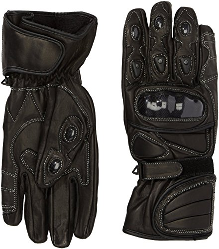 Protectwear WSG-101-SW-M Motorradhandschuh aus Leder mit Hartschalenknöchelschutz, Größe M, Schwarz
