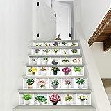 HONIC 6pcs / Set Auto-adhésif Amovible PVC 3D coloré Sol Moderne Antislip Home Decor Sticker escalier Carrelage bonsaï Mur Ornements: Chine