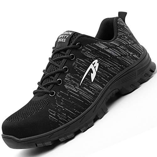 H-Mastery Chaussure de Sécurité Homme Femme Chaussures de Travail avec Embout de Protection en Acier et Semelle de Protection(Noir,Taille42)