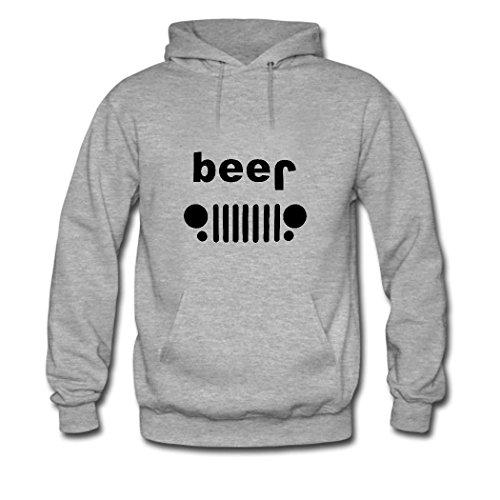 weileDIY Beer Jeep DIY Custom Women's Printed Hoodie Sweatshirt Gray_B