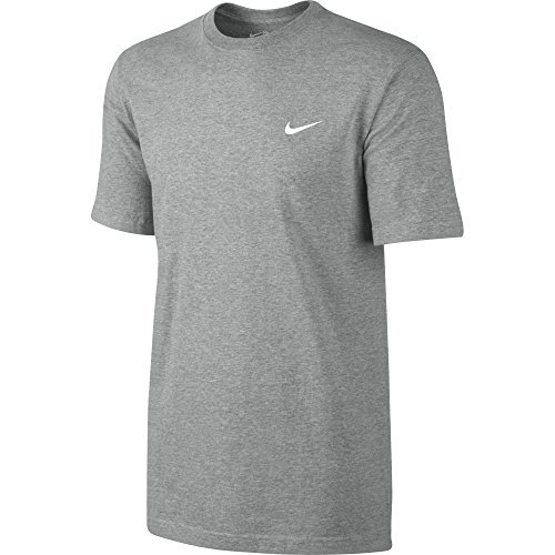 Nike Tee-Embrd Swoosh T-Shirt, Dk Grey Heather/White, XL