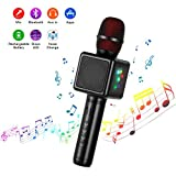 Microfono Karaoke Bluetooth Wireless, Cocopa Microfono Bambini Senza Fili Adulti con Altoparlante, Microfoni Wireless Disco Light per Cantare Partito Compleanno Regalo per Android iOS PC Smartphone