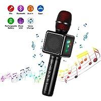 Microfono Karaoke Bluetooth Wireless, Cocopa Microfono Bambini Senza Fili Adulti con Altoparlante, Microfoni Wireless Disco Light per partito compleanno regalo Compatibile Android iOS PC Smartphone