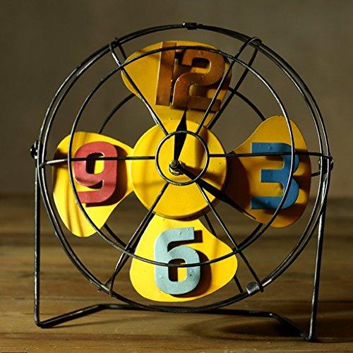 GAYY Drm Fan Clock Retro Eisen Ornamente Nostalgische Metall Handwerk American Coffee Shop Shop Bar Personalisierte Dekorationen (Gelb),Gelb -