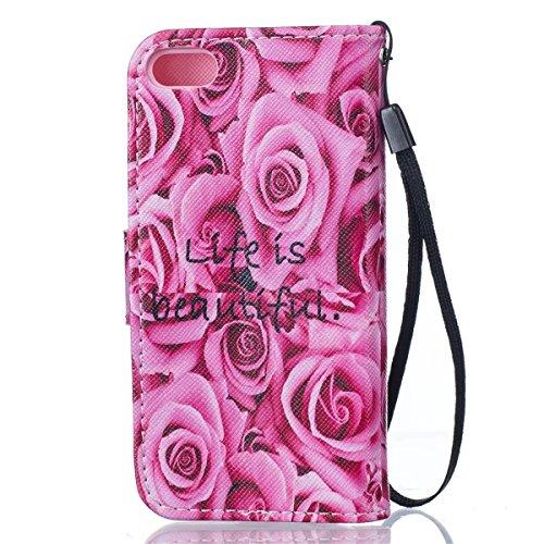 Coque iPhone 5C, Étui en cuir pour iPhone 5C, Lifetrut [Printed Patterns] Colorful Design Flip Portefeuille Case Couverture avec sangles pour iPhone 5C [Vertige] E207-Life is beautiful