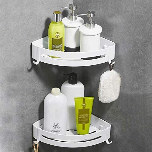 Crosofmi mensola ad angolo per doccia bagno, antiruggine portasapone per doccia per organizzatore cucina bagno, alluminio (triangolo, bianco,confezione da 2)