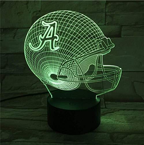 2 paket, 3d led nachtlicht usb universität von alabama football helm kinder kinder geschenk farbwechsel tischlampe schlafzimmer