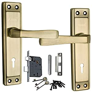 Atom Mortise Handle, Mortise Lock, Door Lock, Lock, Atom Mortise Lock Set 607 Brass Antique Finish with Lezend Double Action Lock Two Sided Key Hole Lock,Mortise Lock,Door Lock