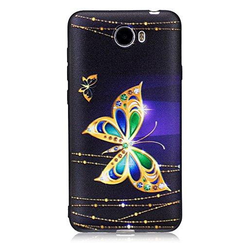 HUAWEI Hüllen, Hozor Dünne Weiche TPU Silikon Handyhülle Schutztasche Back Cover Gemalt Geprägt Muster Schutzhülle Etui für Huawei Y5 II / Y5 2 / Y6 II Compact 5.0 zoll - Diamant-Schmetterling