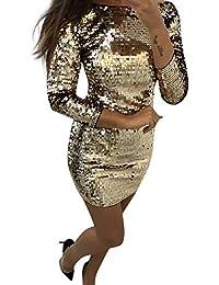 Lenfesh Mujer Vestido de Fiesta, Vestido Lentejuelas Atractiva y Sexy Mini Vestido Manga Larga para