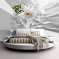 murando - Fotomural 350x256 cm - Papel tejido-no tejido - Papel pintado - Wand - Flores - abstraccion Blanco Lirio b-C-0144-a-a