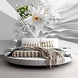 murando - Fototapete Blumen Lilien 350x256 cm - Vlies Tapete - Moderne Wanddeko - Design Tapete - Wandtapete - Wand Dekoration - Blume Abstrakt weiß 3D Optisch Illusion b-C-0144-a-a