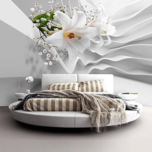 murando - Fototapete Blumen Lilien 400x280 cm - Vlies Tapete - Moderne Wanddeko - Design Tapete - Wandtapete - Wand Dekoration - Blume Abstrakt weiß 3D Optisch Illusion b-C-0144-a-a