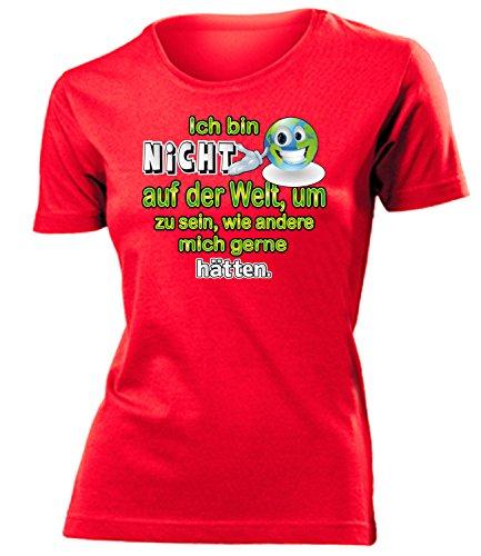 love-all-my-shirts Ich bin nicht auf der Welt, um zu sein 4437 Damen T-Shirt (F-R) Gr. L