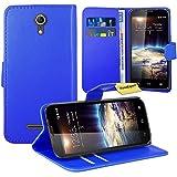 Vodafone Smart 4 Power Handy Tasche, FoneExpert® Wallet Case Flip Cover Hüllen Etui Ledertasche Lederhülle Premium Schutzhülle für Vodafone Smart 4 Power (Blau)