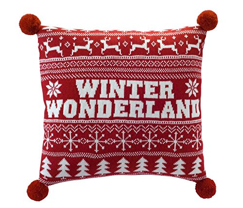 Melrose Red Winter Wonderland Ugly Sweater Style Christmas Pillow Couch Cushion Accent - Accent Sweater