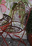 Gartenstuhl Terrassenstuhl Gartensessel Gartenmöbel Weinrot Metall Eisen Vintage 92 x 39 cm