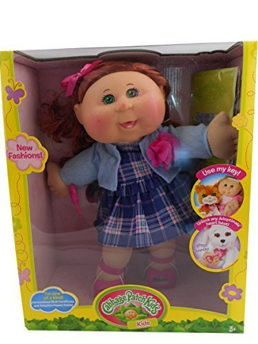 Cabbage Patch Kids 14 Girl, Caucasian Plaid Blue Dress with Key by Cabbage Kid