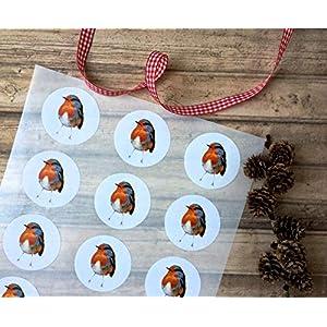 Rotkehlchen Sticker A4 Bogen, Vogel Aufkleber 15 Stk. ca.5 cm Durchmesser, Weihnachts-Aufkleber, Weihnachtsdeko, selbstklebende runde Etiketten mit Rotkehlchen-Motiv