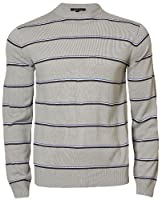 Mens Striped Jumper Crew Neck Casual Sweater Knitwear Top Blue Fire 26A-904, Lt Grey, Small