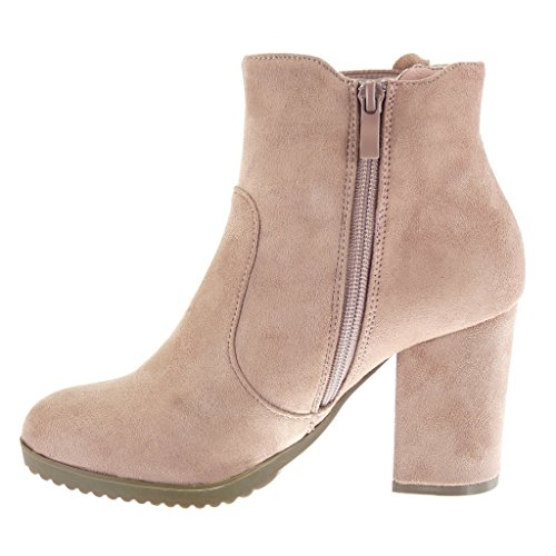 Angkorly Scarpe Moda Stivaletti Scarponcini chelsea boots cavalier donna intrecciato Tacco a blocco alto 8.5 CM Rosa
