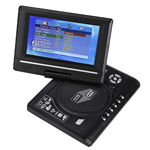 """VBESTLIFE 7 """"Tragbarer DVD-Player, Mini-Auto-CD-TV/Spielfunktions-Schwenker 16: 9-Bildschirm mit großem Speicher und wiederaufladbarer Batterie für Auto/Zuhause/Outdoor(EU Plug)"""