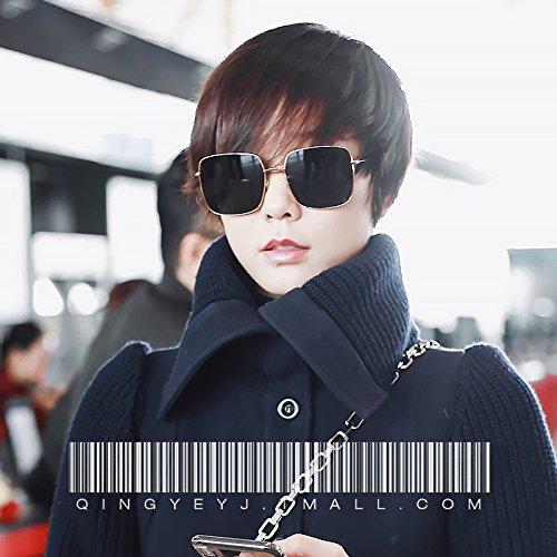 Komny Sonnenbrille Frau tide Star rundes Gesicht big Frame winddicht Sonnenschutz und Sonnenbrille eine goldene Rahmen [dunkelblau Objektiv]