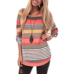 Lover-Beauty Mujeres Verano Casual Cuello V Camiseta Rayas Tops Plus Size