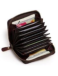 APHISONUK RFID Estructura de acordeón Porta Tarjetas de crédito de Cuero RFID Blocking Mujer Carteras y