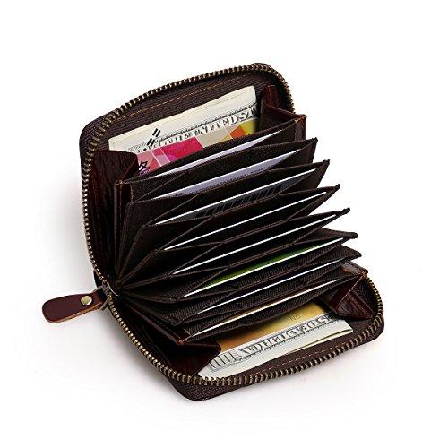 APHISONUK Männer RFID Akkordeon Stil Leder Kreditkarteninhaber RFID Blockierung Sicher Geldbörse Reißverschluss Um Neueste Portemonnaie/Halter/Geschenk