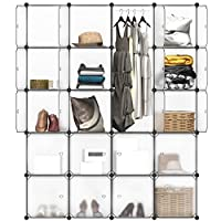 LANGRIA 16 Modular Shelving Storage Organizing Closet with Translucent Doors and Cube Design for Clothes, Shoes, Toys and Books