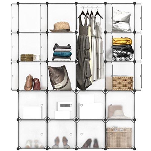 Langria cabina armadio in plastica ad incastro 20-cubo conservazione e organizzatore con porte traslucide per oggetti personali,abbigliamento, scarpe, giocattoli e libri, 147 x 37 x 178 cm, bianco