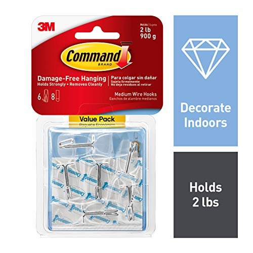 Command Medium Wire Toggle Hook Value Pack, Clear, 7-Hooks