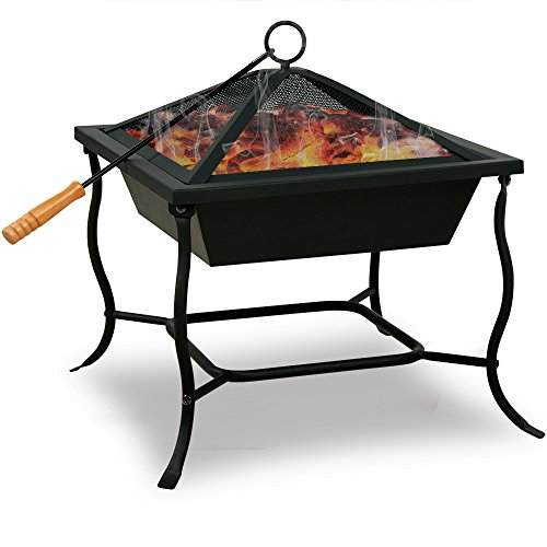 Deuba Fire Bowl Pit Basket Stainless Steel BBQ Garden Grill Brazier Heating Wood Charcoal 40x40cm +Lid +Hook