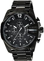 DIESEL Mega Chief Men's Quartz Watch with Black Dial and Black Stainless Steel Bracelet DZ4283