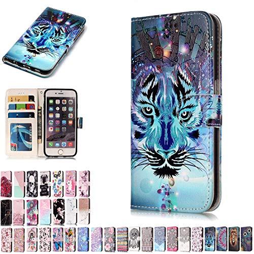 LA-Otter Samsung Galaxy S5 Hülle Leder Tiger Muster Tasche Lederhülle handyhüllen Etui Schutzhülle Flip Case Ledertasche Klapphülle (S5 Für Otter Samsung Case Galaxy)