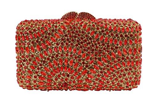 Yilongsheng Glitter longue carrée Ladies Embrayage Sacs avec anneau Form Strass rouge