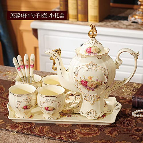 Teeservice mit Paletten, Keramik Teesets, Nachmittagsteeets, Kaffeetassen, Teekannensets, Abschnitt B, 4 Tassen, 1 Topf, 1 Tablett (Schaufel), 6 Stück (Kaffee-topf-tray)